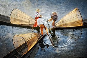 Three Fishermen on Inle Lake by David Lazar